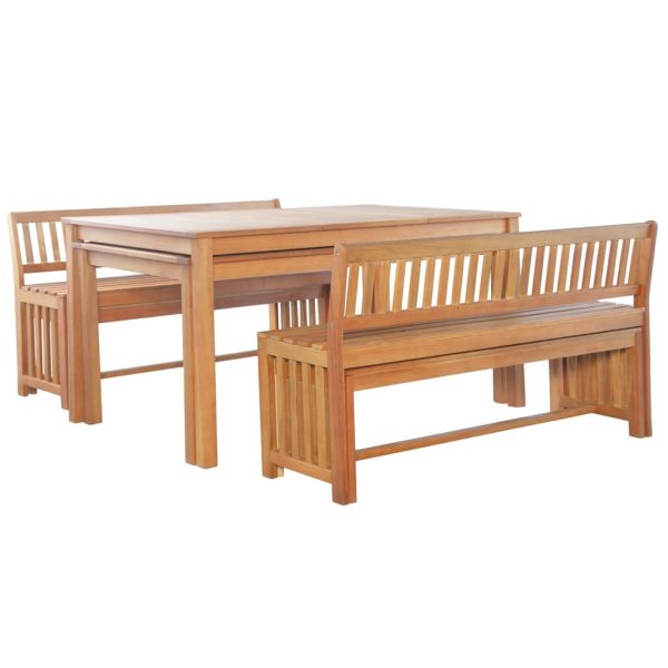 6 Piece Outdoor Dining Set Solid Eucalyptus Wood 2