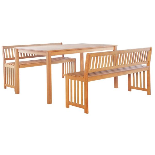 6 Piece Outdoor Dining Set Solid Eucalyptus Wood 3