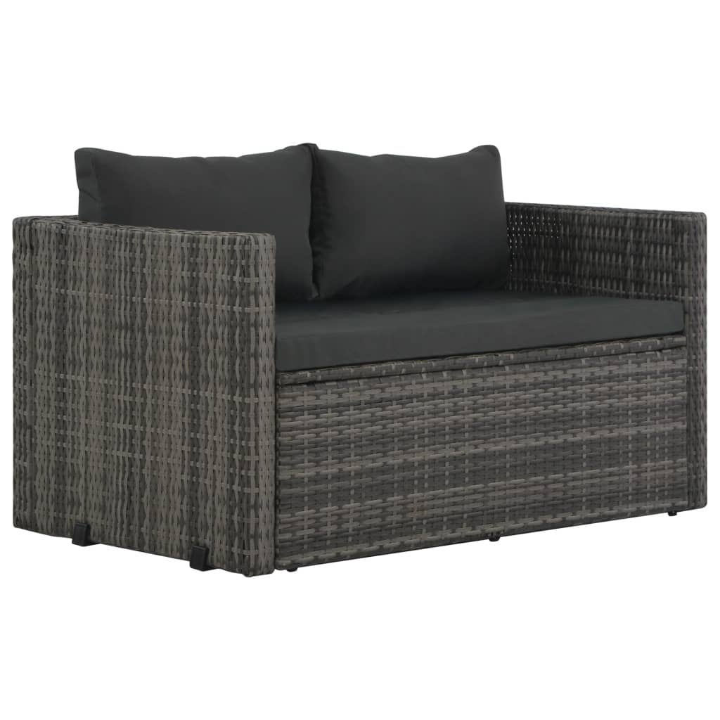 3 Piece Outdoor Dining Set with Cushions Poly Rattan Grey 2