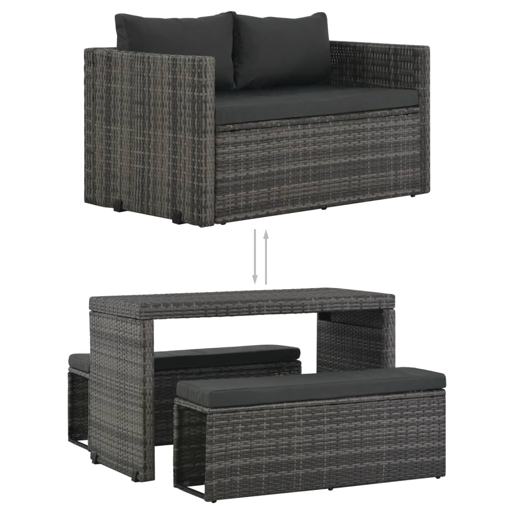 3 Piece Outdoor Dining Set with Cushions Poly Rattan Grey 3
