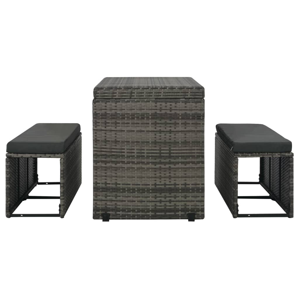 3 Piece Outdoor Dining Set with Cushions Poly Rattan Grey 6