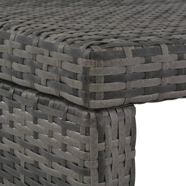 3 Piece Outdoor Dining Set with Cushions Poly Rattan Grey 9