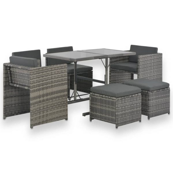 7 Piece Outdoor Dining Set with Cushions Poly Rattan Grey 1