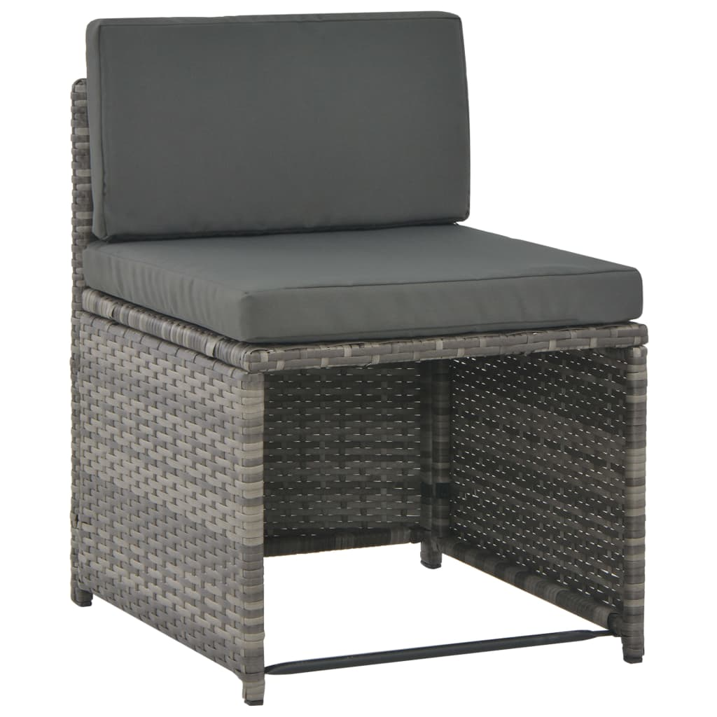 7 Piece Outdoor Dining Set with Cushions Poly Rattan Grey 5