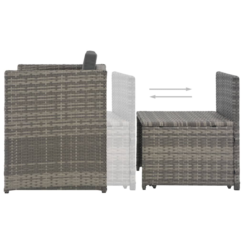 7 Piece Outdoor Dining Set with Cushions Poly Rattan Grey 8