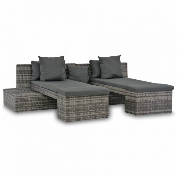 4 Piece Garden Lounge Set with Cushions Poly Rattan Grey 1