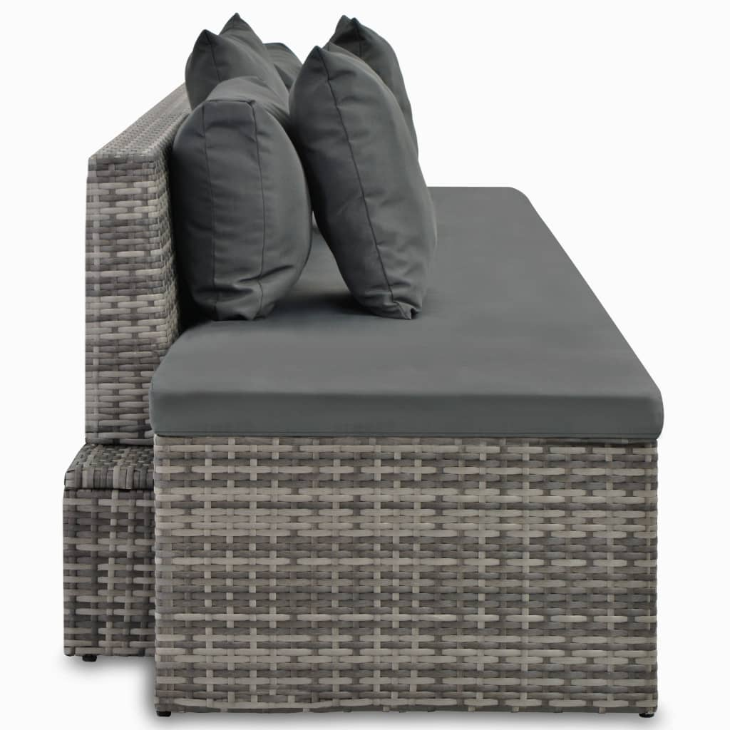 4 Piece Garden Lounge Set with Cushions Poly Rattan Grey 5