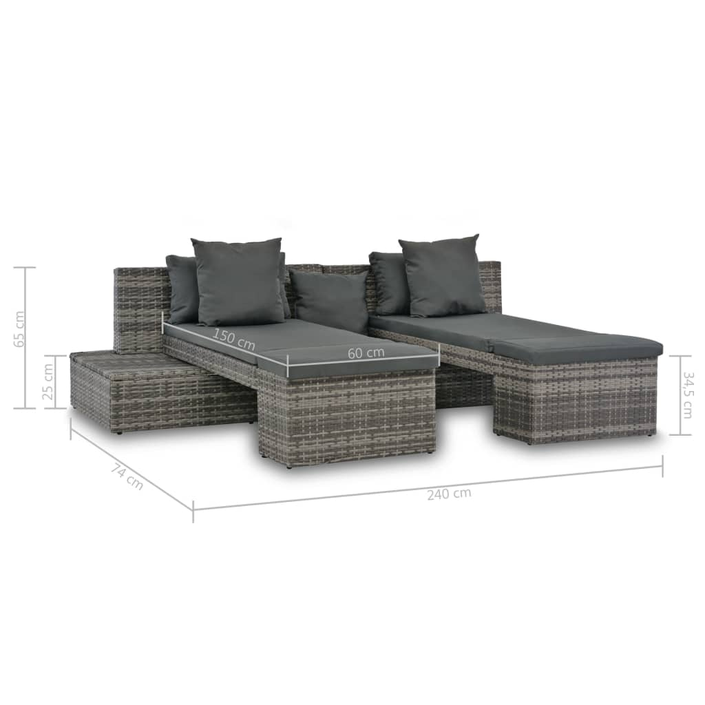 4 Piece Garden Lounge Set with Cushions Poly Rattan Grey 6