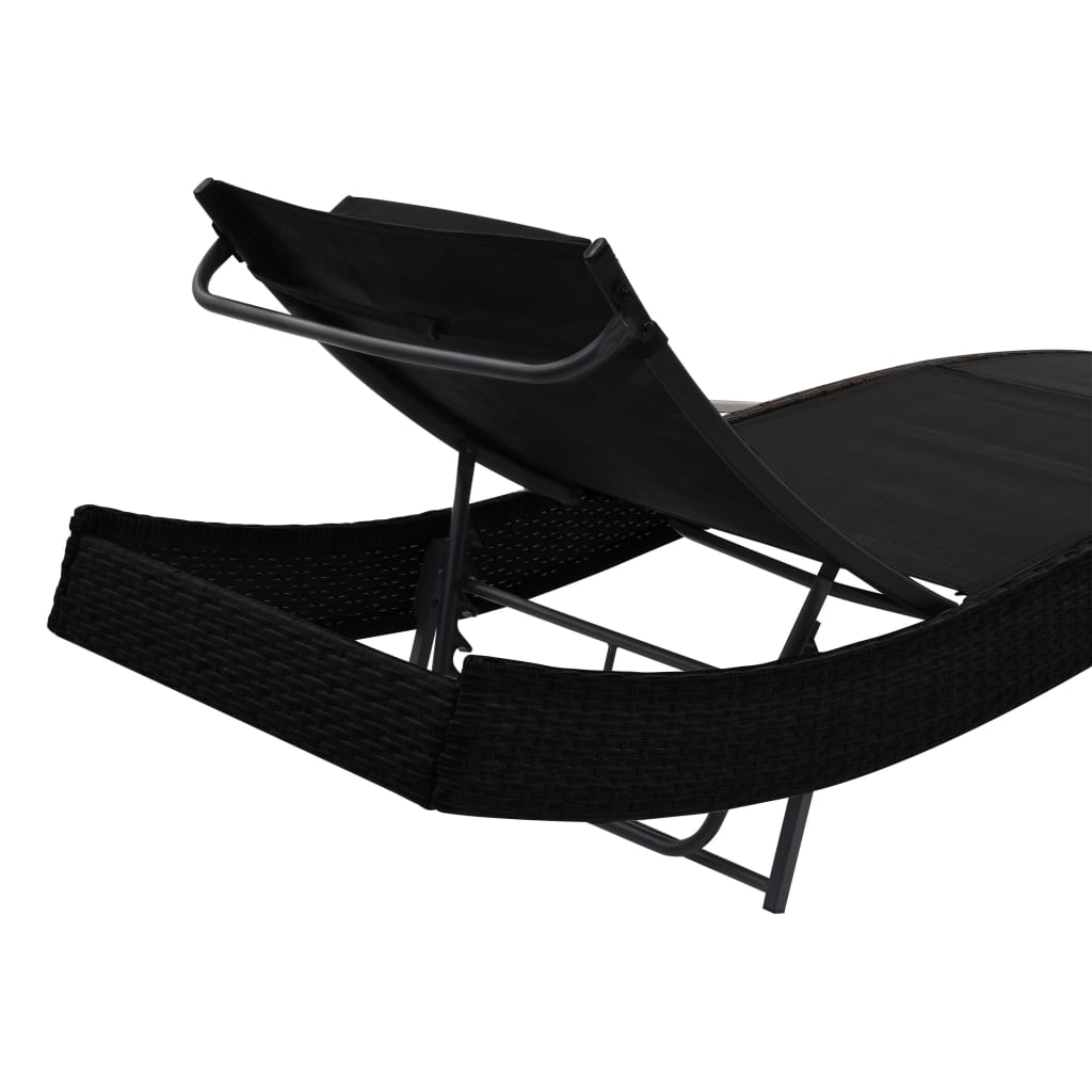 Sun Loungers 2 pcs with Table Poly Rattan and Textilene Black 7