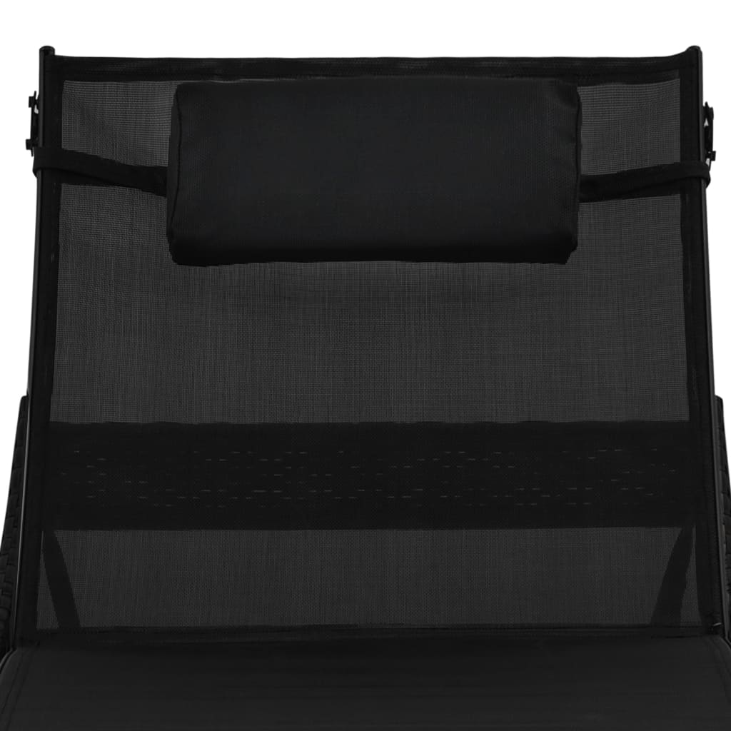 Sun Loungers 2 pcs with Table Poly Rattan and Textilene Black 8