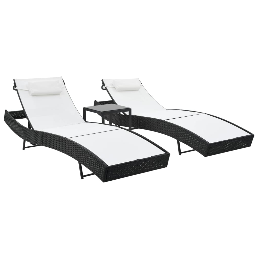 Sun Loungers 2 pcs with Table Poly Rattan and Textilene Black 1