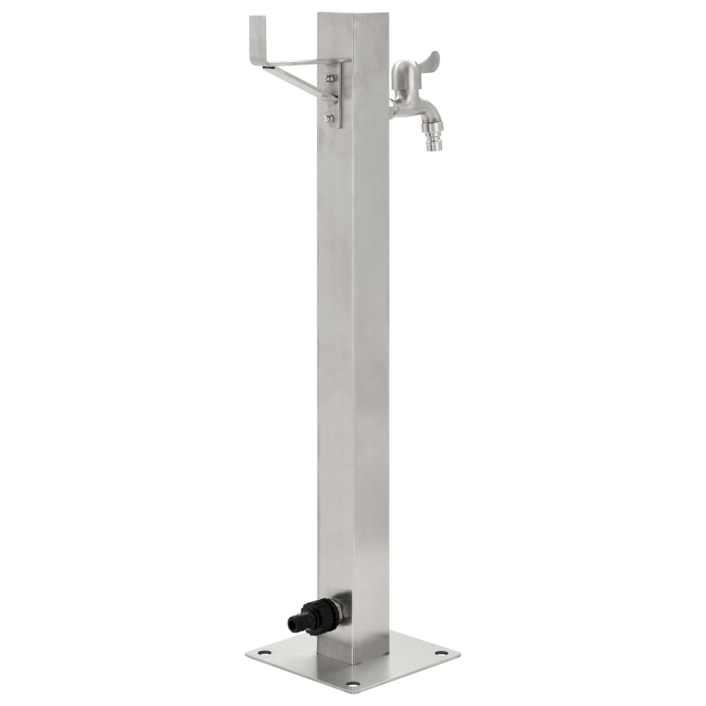 Garden Water Column Stainless Steel Square 65 cm 3