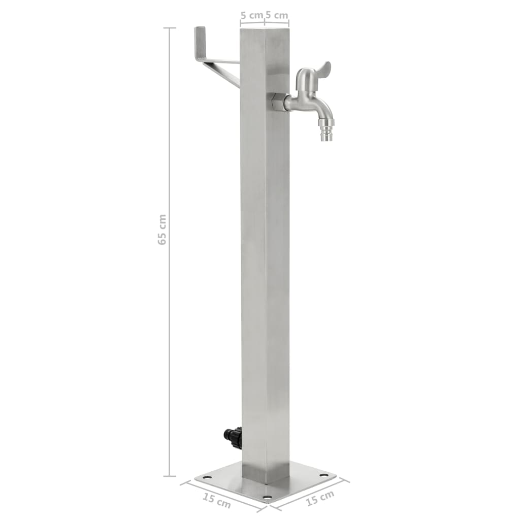 Garden Water Column Stainless Steel Square 65 cm 8