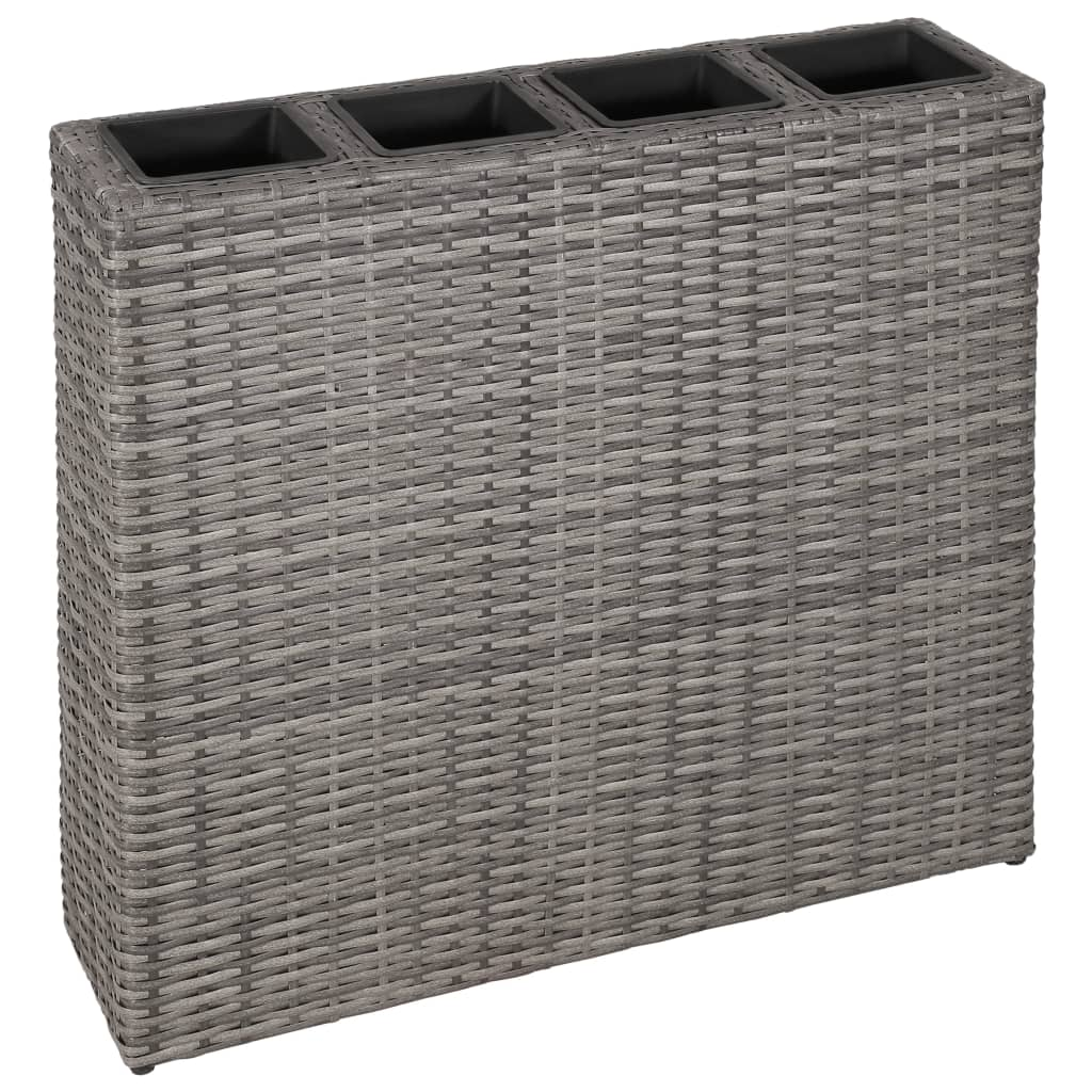 Planter with 4 Pots Poly Rattan Grey