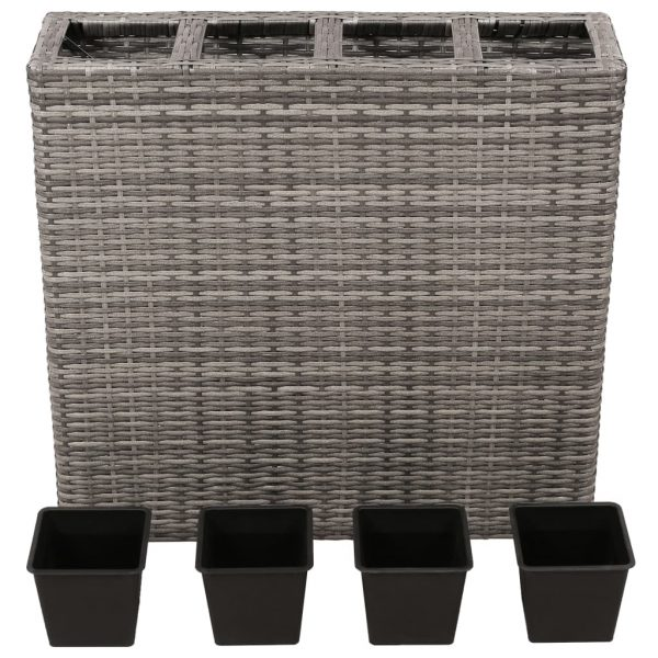 Planter with 4 Pots Poly Rattan Grey 2