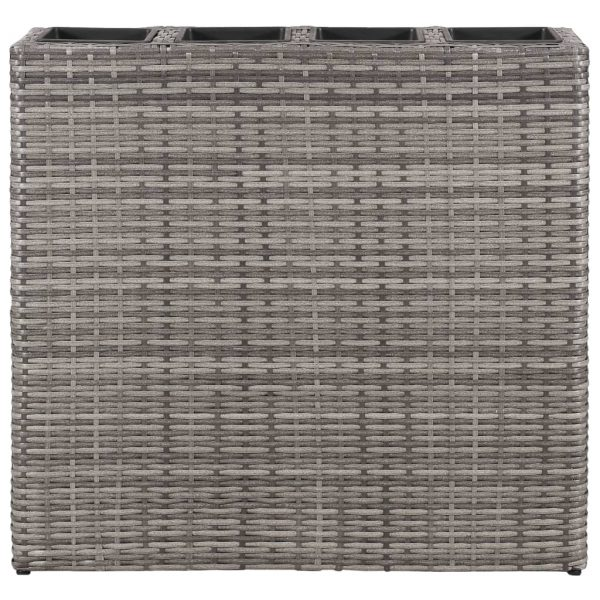 Planter with 4 Pots Poly Rattan Grey 3