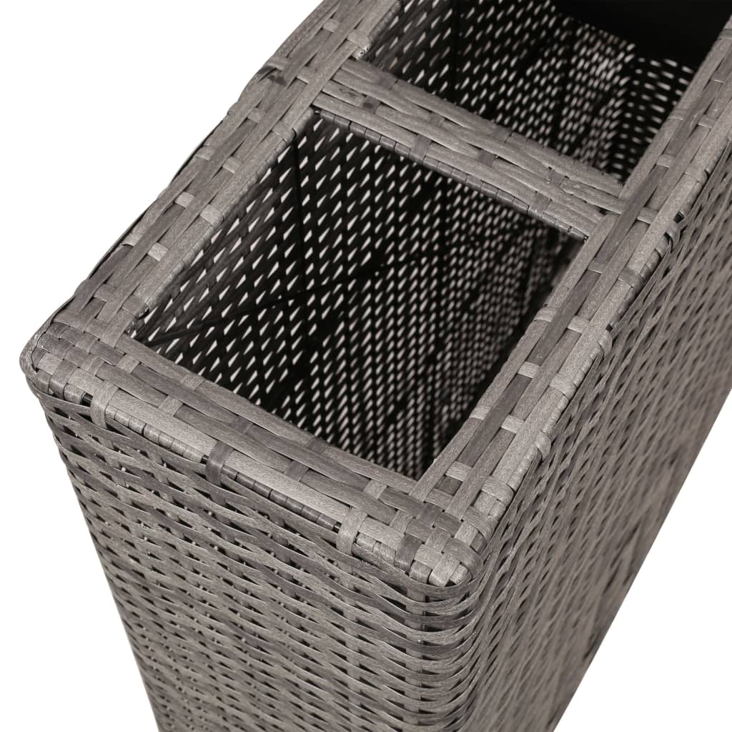 Planter with 4 Pots Poly Rattan Grey 4