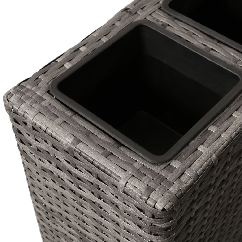 Planter with 4 Pots Poly Rattan Grey 5