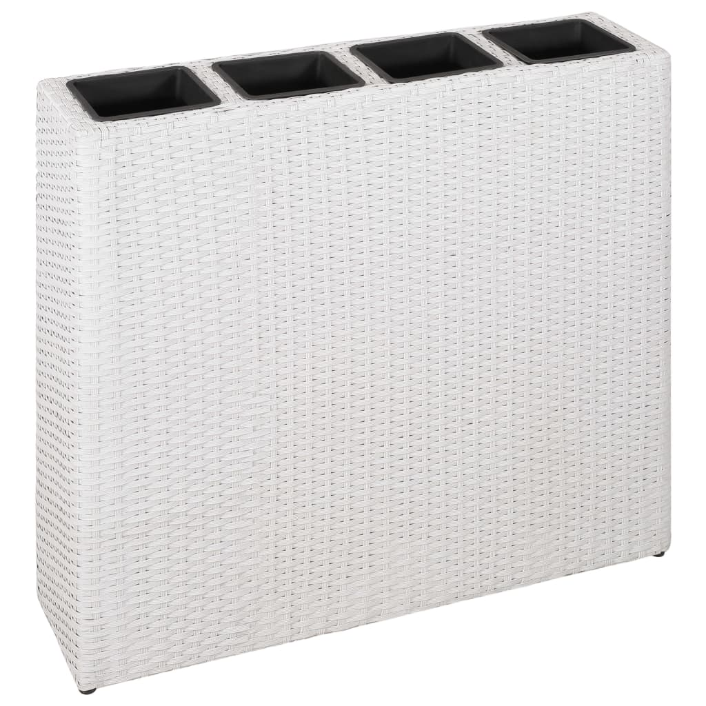 Planter with 4 Pots Poly Rattan White 1
