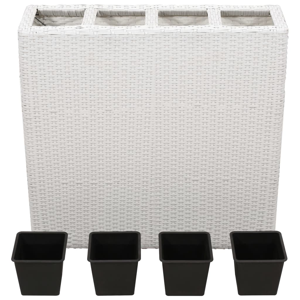 Planter with 4 Pots Poly Rattan White 2