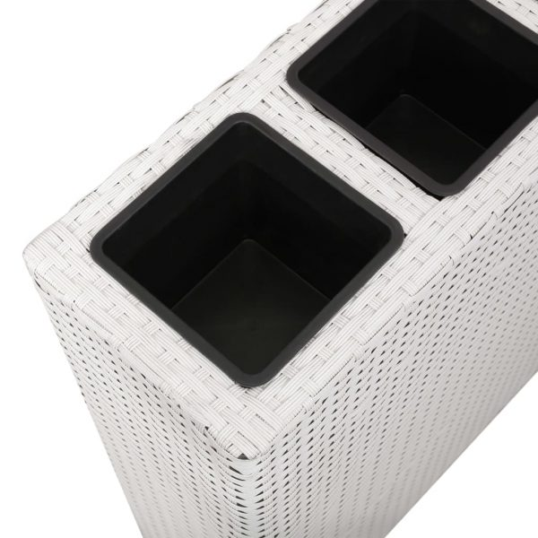 Planter with 4 Pots Poly Rattan White 5