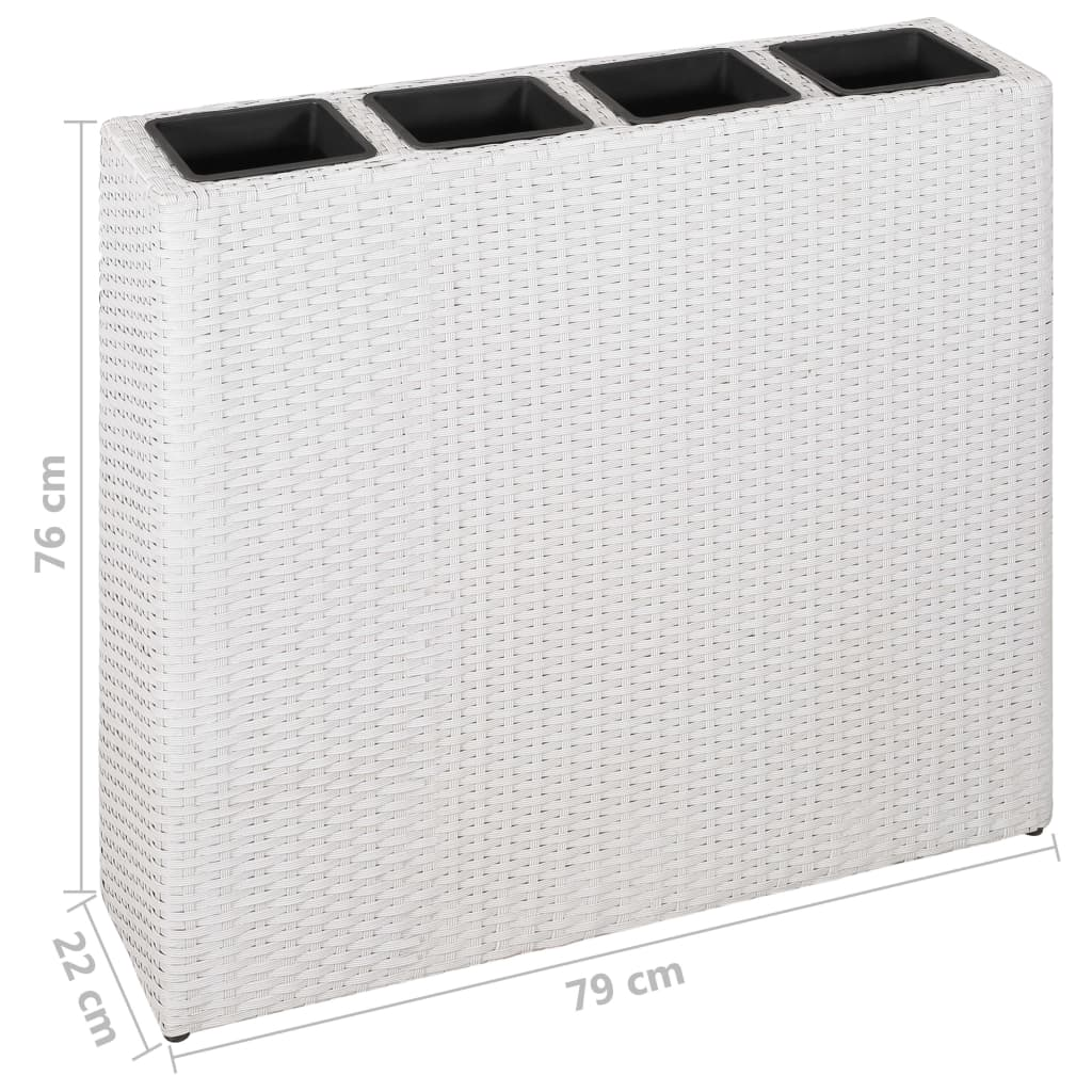 Planter with 4 Pots Poly Rattan White 6