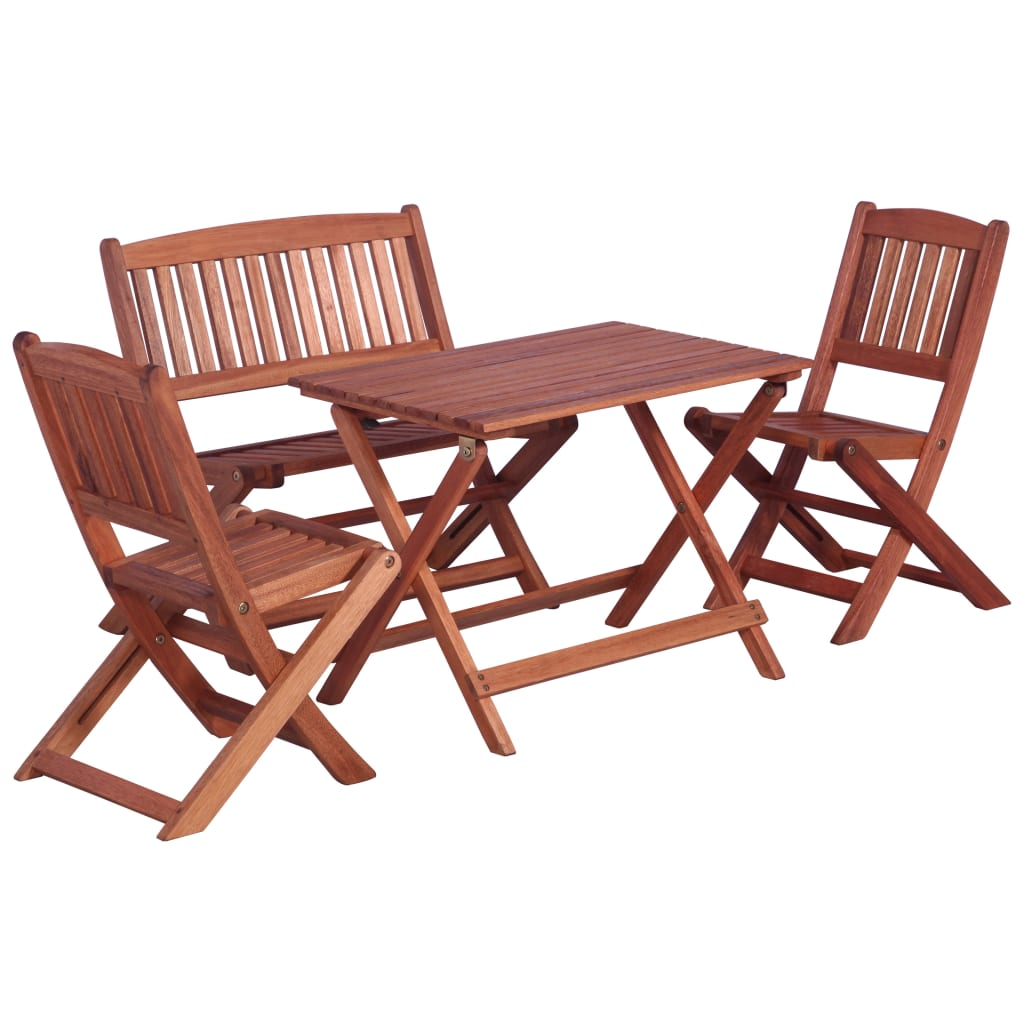 4 Piece Outdoor Dining Set for Children Solid Eucalyptus Wood 1