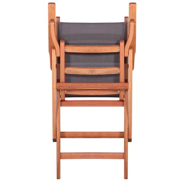Outdoor Chairs 4 pcs Grey Solid Eucalyptus Wood and Textilene 9
