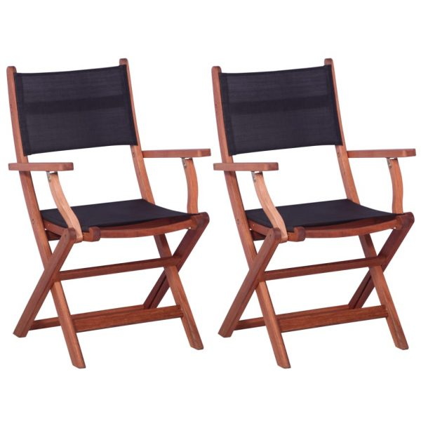 Outdoor Chairs 2 pcs Black Solid Eucalyptus Wood and Textilene 1