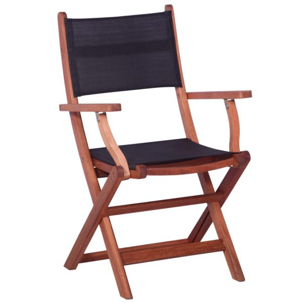 Outdoor Chairs 2 pcs Black Solid Eucalyptus Wood and Textilene 2