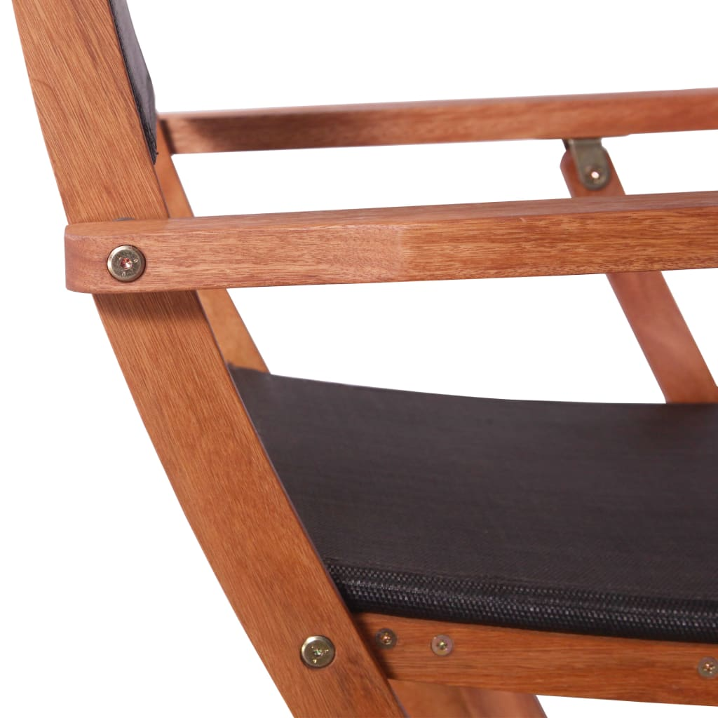 Outdoor Chairs 2 pcs Black Solid Eucalyptus Wood and Textilene 11