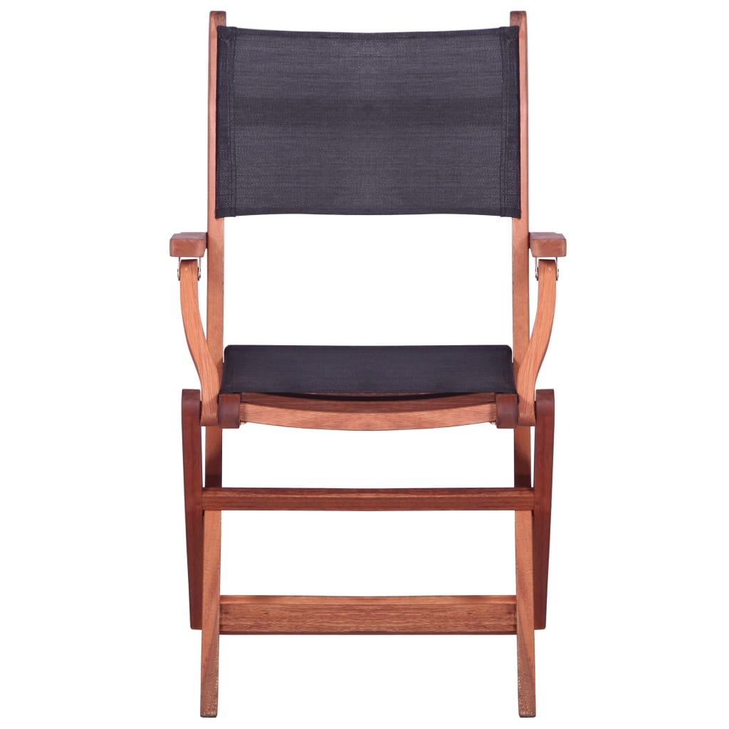 Outdoor Chairs 2 pcs Black Solid Eucalyptus Wood and Textilene 3