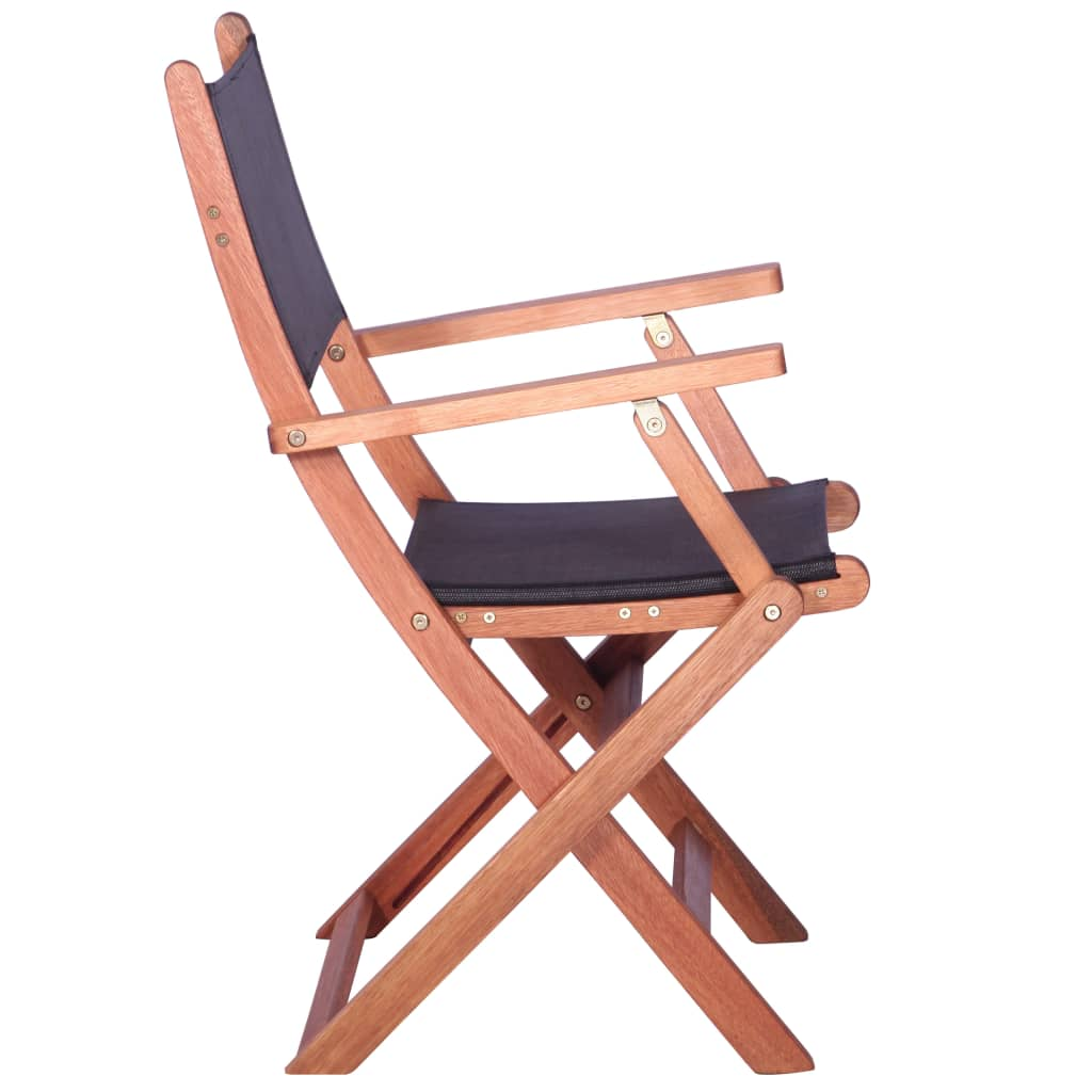 Outdoor Chairs 2 pcs Black Solid Eucalyptus Wood and Textilene 4