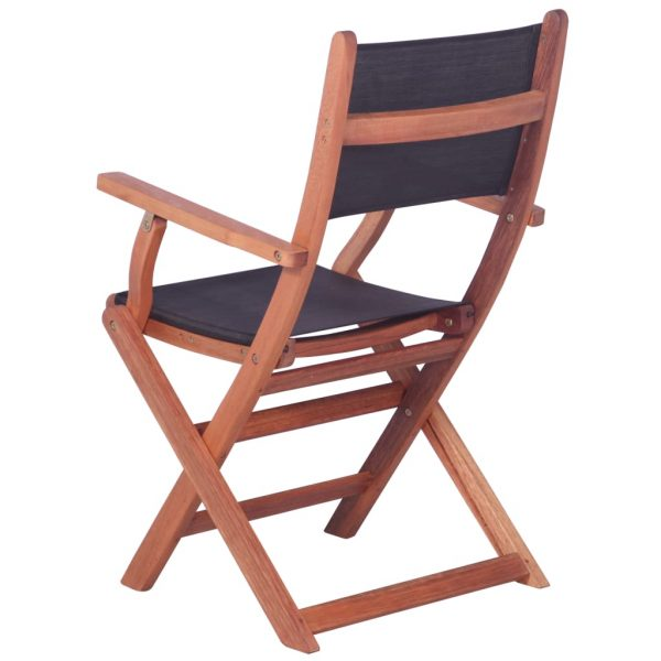 Outdoor Chairs 2 pcs Black Solid Eucalyptus Wood and Textilene 5