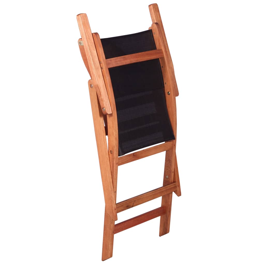 Outdoor Chairs 2 pcs Black Solid Eucalyptus Wood and Textilene 6
