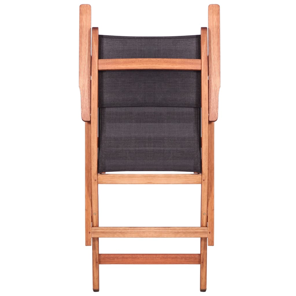 Outdoor Chairs 2 pcs Black Solid Eucalyptus Wood and Textilene 7
