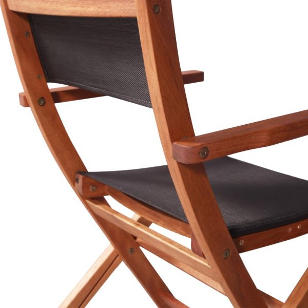 Outdoor Chairs 4 pcs Black Solid Eucalyptus Wood and Textilene 10