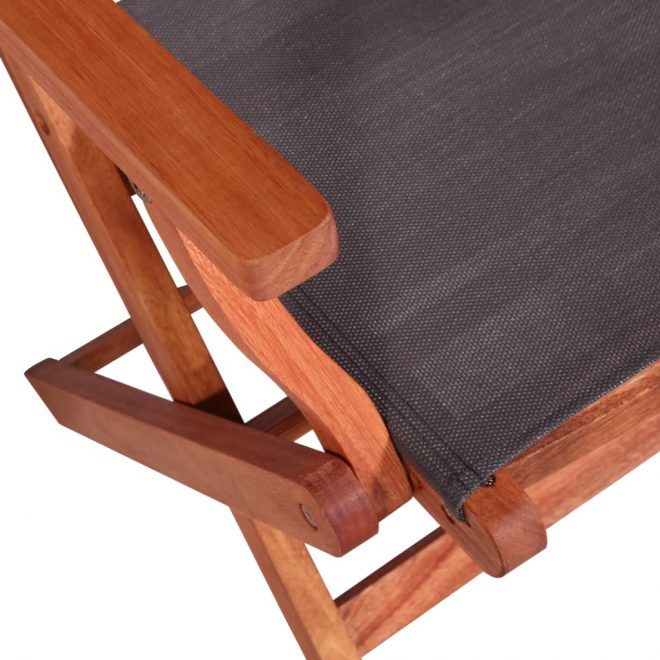 5 Piece Outdoor Dining Set Solid Eucalyptus Wood and Textilene 7