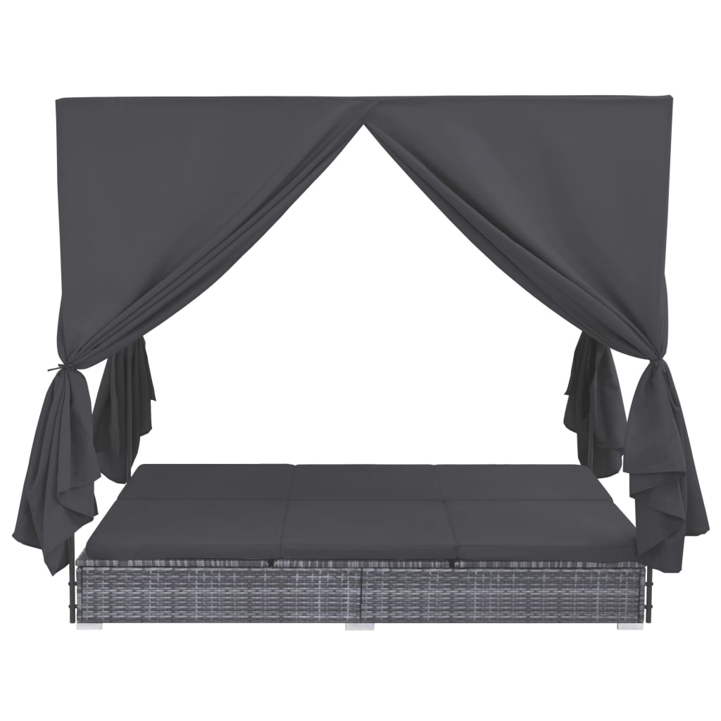 Outdoor Lounge Bed with Curtains Poly Rattan Grey 2