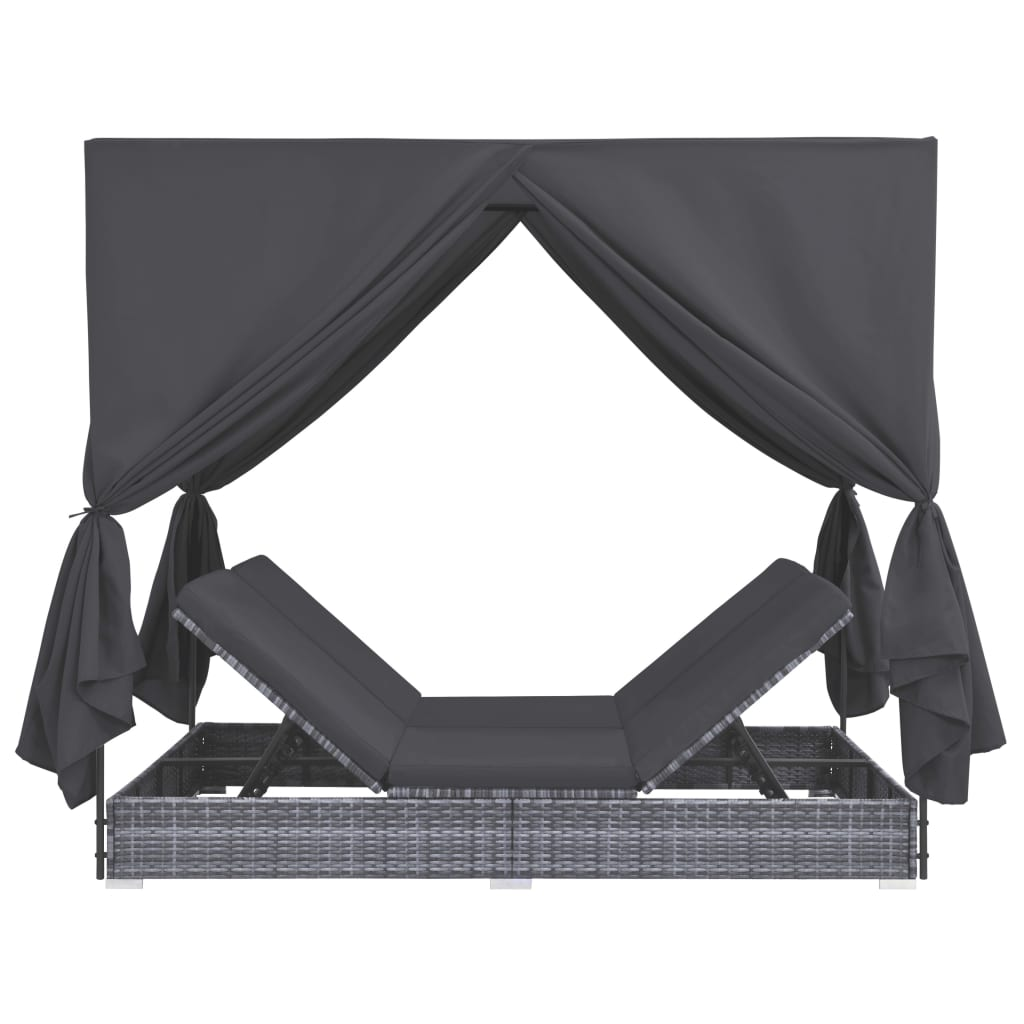 Outdoor Lounge Bed with Curtains Poly Rattan Grey 3