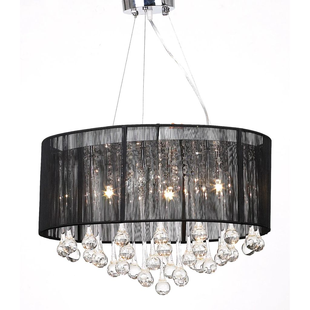 Chandelier with 85 Crystals Black 1