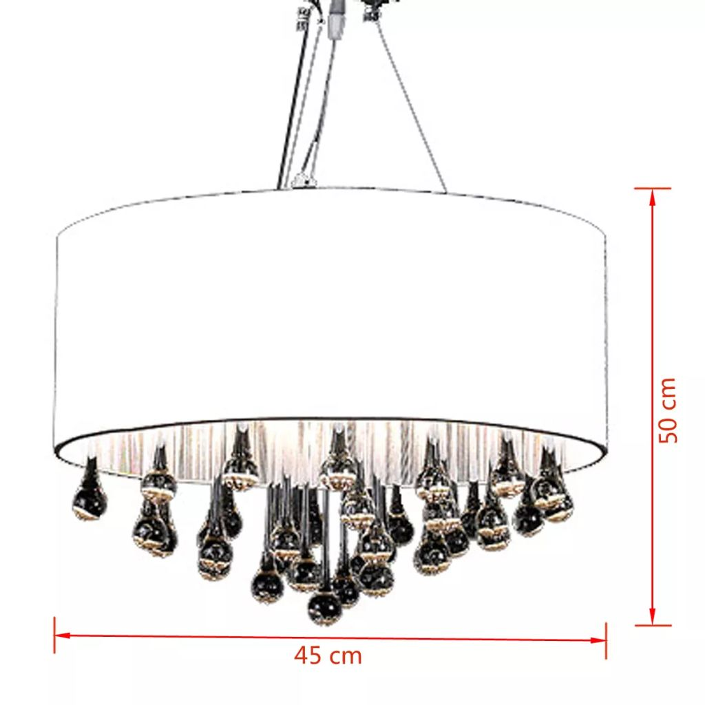 Chandelier with 85 Crystals White 6