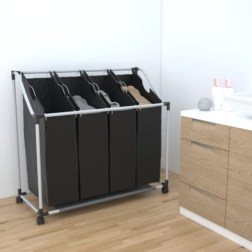 Laundry sorter with 4 bags black grey 1