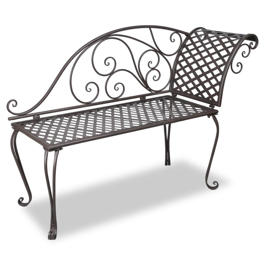 Garden Chaise Lounge 128 cm Steel Antique Brown 1