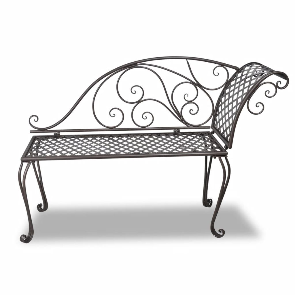 Garden Chaise Lounge 128 cm Steel Antique Brown 2