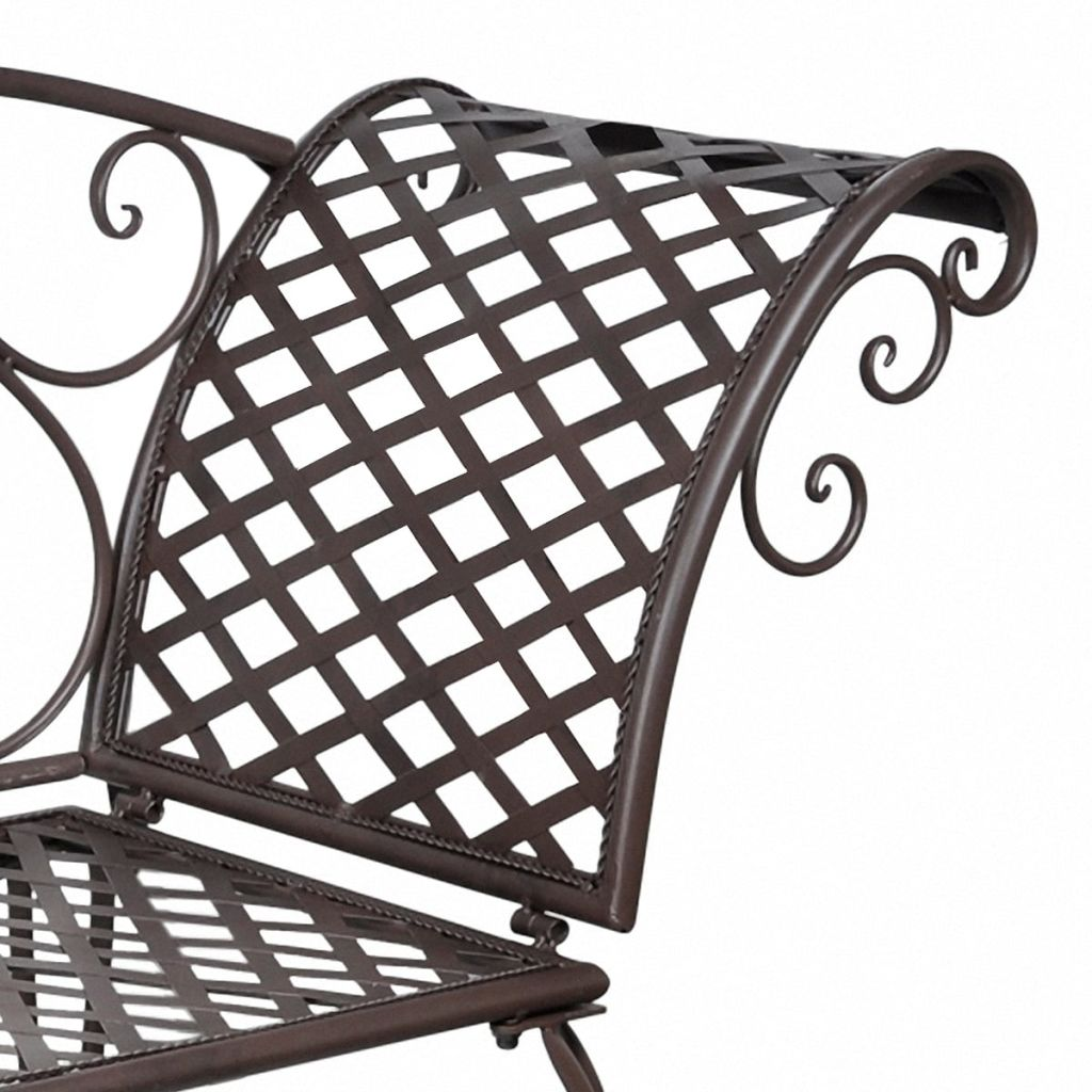 Garden Chaise Lounge 128 cm Steel Antique Brown 4