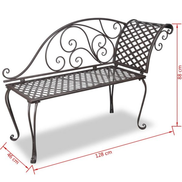 Garden Chaise Lounge 128 cm Steel Antique Brown 5