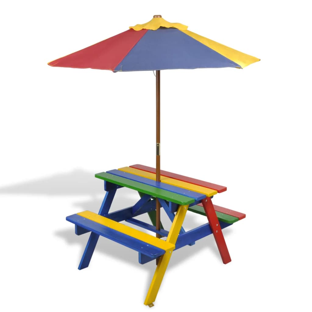 Kids' Picnic Table with Benches and Parasol Multicolour Wood 1