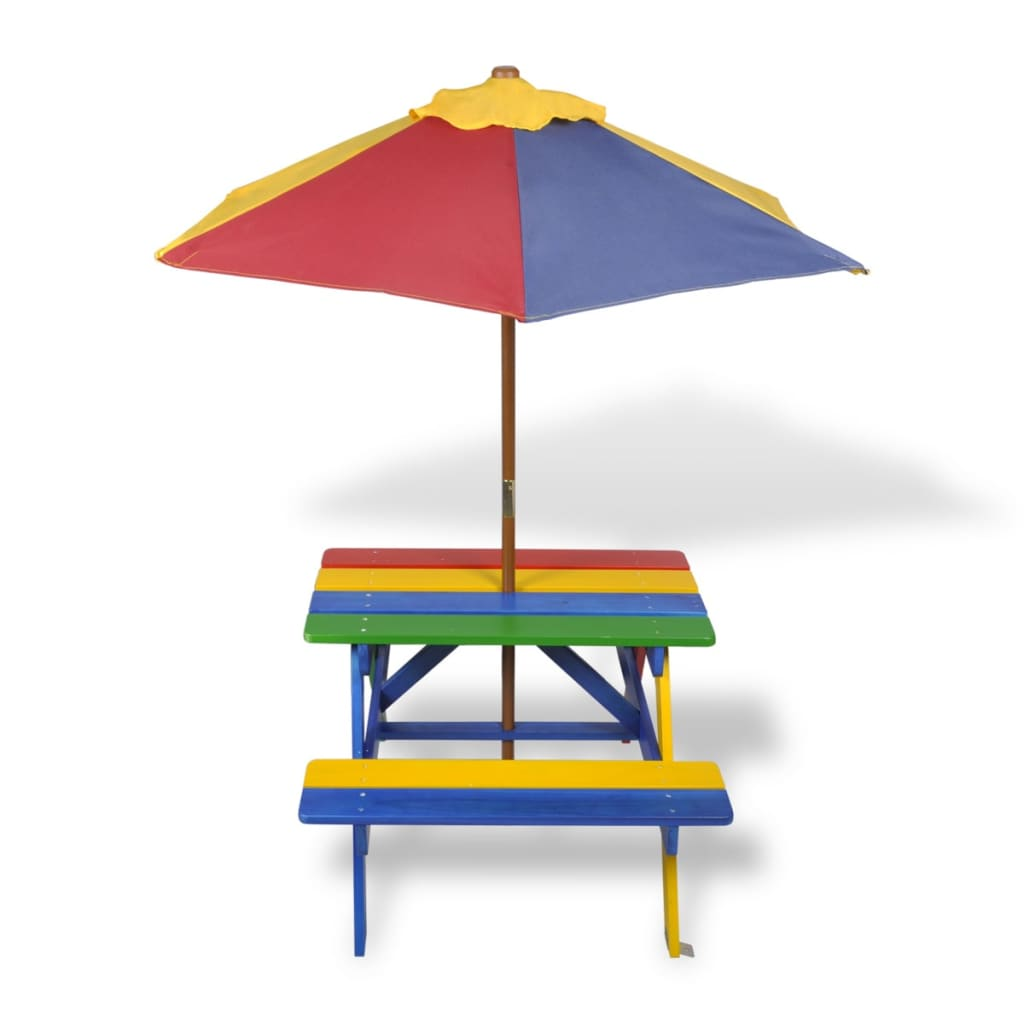 Kids' Picnic Table with Benches and Parasol Multicolour Wood 3
