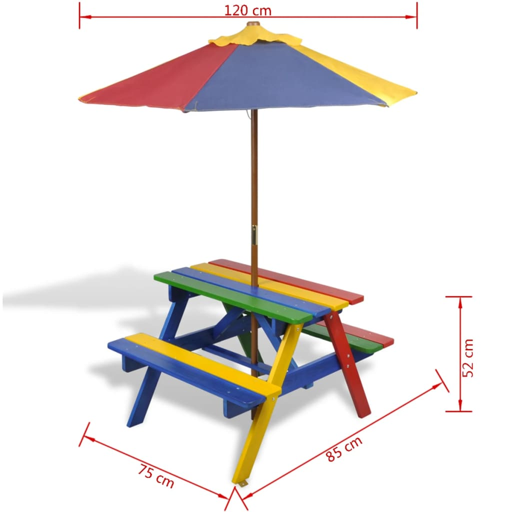 Kids' Picnic Table with Benches and Parasol Multicolour Wood 7